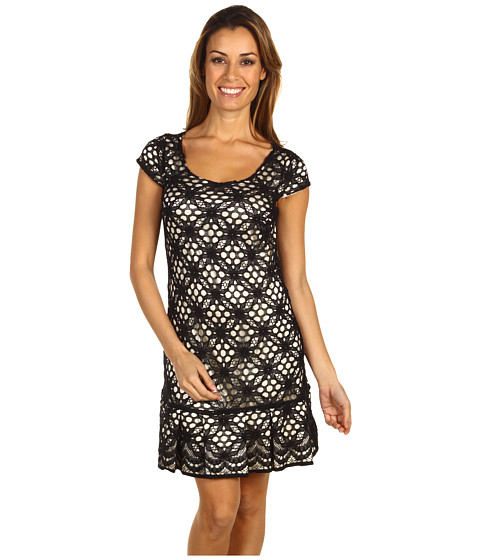 Rochii Jax - Crochet Ruffle Dress - Black/Cream