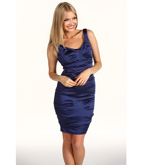 Rochii Jax - Gathered Satin Dress - Lapis