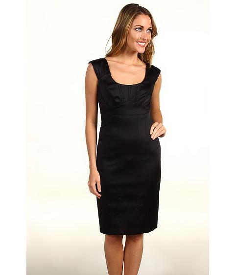 Rochii Jax - Pleated Cap Sleeve Satin Dress - Black/Ivory