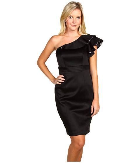 Rochii Jax - Ruffled One Shoulder Dress - Black/Grey