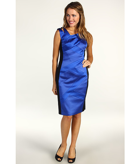 Rochii Jax - Satin Bandaged Sleeveless Dress - Black/Electric Blue