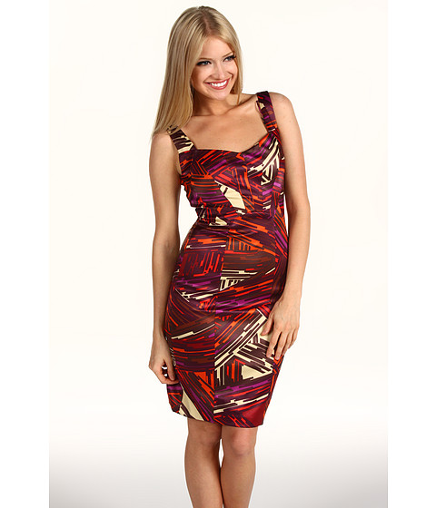 Rochii Jax - Satin Printed Dress - Burgandy Multi