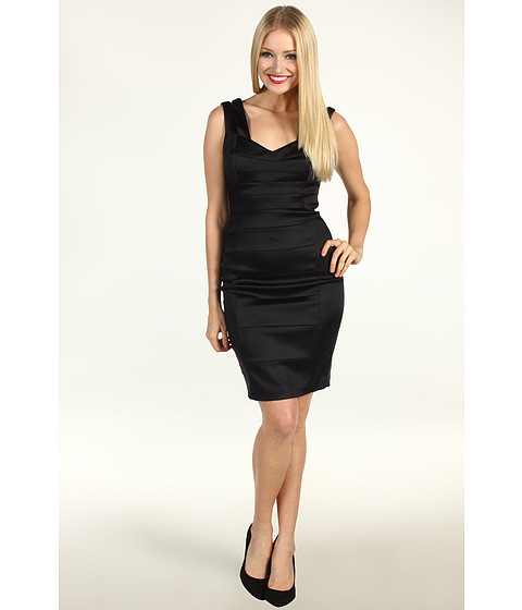 Rochii Jax - Satin Splice Double Strap Dress - Black