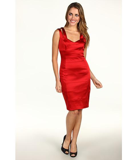 Rochii Jax - Satin Splice Double Strap Dress - Ruby