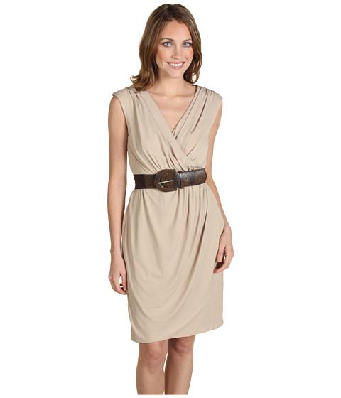 Rochii Jax - Solid Jersey Belted Wrap Dress - Stone