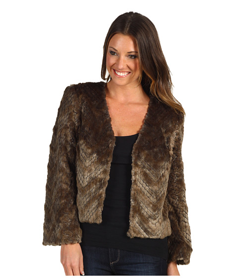 Geci Trina Turk - Heavenly Faux Fur Cropped Jacket - Taupe