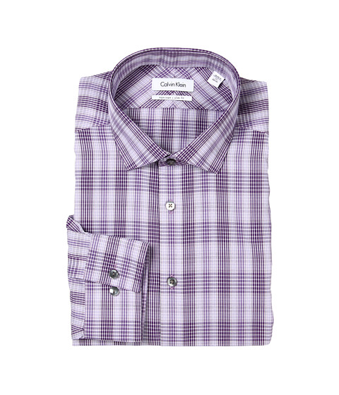 Tricouri Calvin Klein - Non-Iron Slim Fit Amethyst Plaid Dress Shirt - Amethyst
