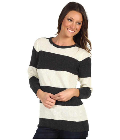 Pulovere Michael Stars - Sequin Stripe Scoop Neck Pullover - Ivory/Charcoal