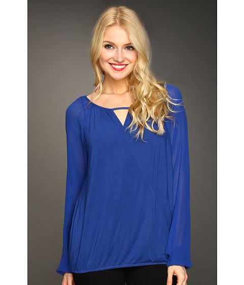 Bluze Michael Stars - Silk Chiffon Jersey Surplice Blouse - Mosaic Blue
