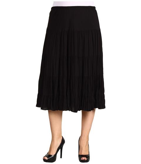 Fuste Karen Kane - Plus Size Coral Casino Crushed Tiered Shirting Skirt - Black