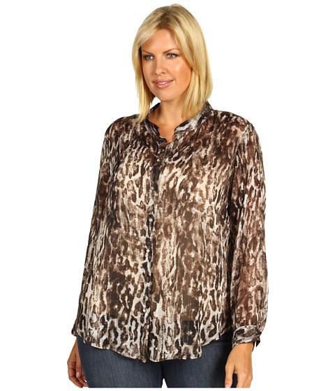 Camasi Karen Kane - Plus Size Metallic Cheetah Stand Collar Blouse - Print
