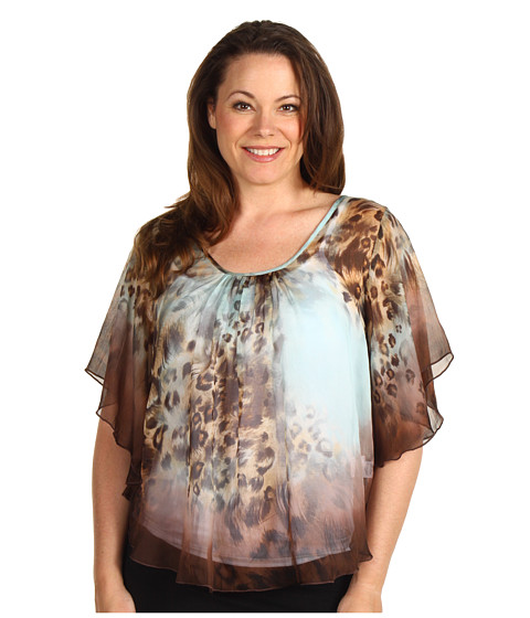 Bluze Karen Kane - Plus Size Call Of The Canyon Angel Sleeve Top - Aqua