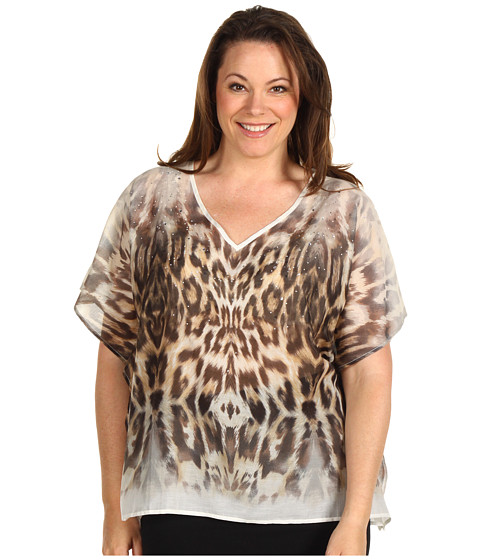 Bluze Karen Kane - Plus Size Call Of The Canyon Scarf Top - Cream