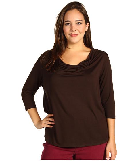 Bluze Karen Kane - Plus Size Rayon Spandex Jersey 3/4 Sleeve Drape Top - Brown