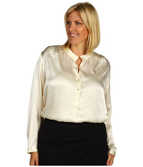 Bluze Karen Kane - Plus Size Split Placket Shirred Blouse - Cream