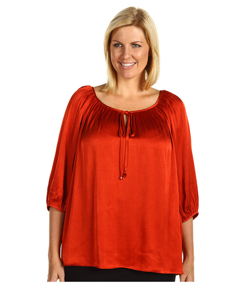 Bluze Karen Kane - Plus Size Stone Trim Tie Top - Rust