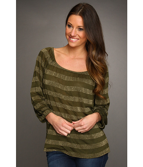 Bluze Michael Stars - Striped Raglan Peasant Top - Topiary