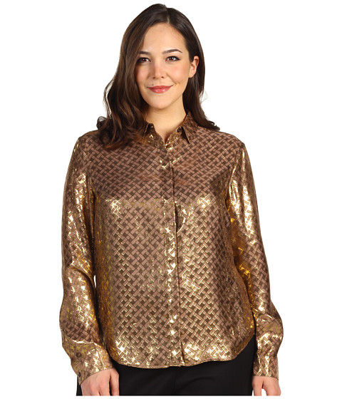 Tricouri Jones New York - L/S Blouse w/ Hidden Placket - Dusty Copper