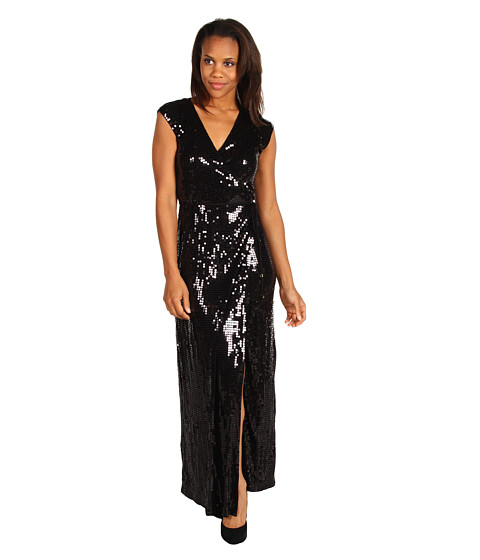 Rochii MICHAEL Michael Kors - S/L Sequined Wrap Maxi Dress - Black