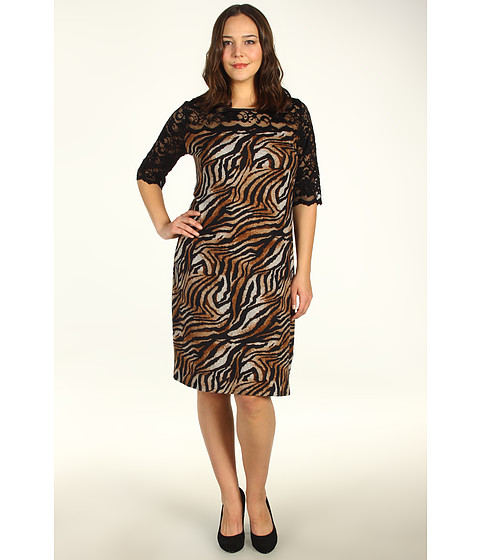 Rochii Karen Kane - Plus Size Lace Yoke Dress - Tiger