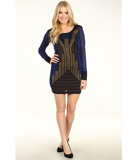 Rochii French Connection - Deco Twinkle Knit Cocktail Dress - Blue/Bronze/Gold