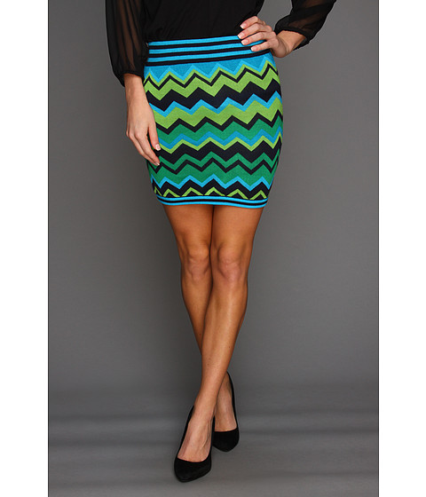 Pantaloni Gabriella Rocha - Madiline Chevron Stripe Mini Skirt - Navy/Green/Teal
