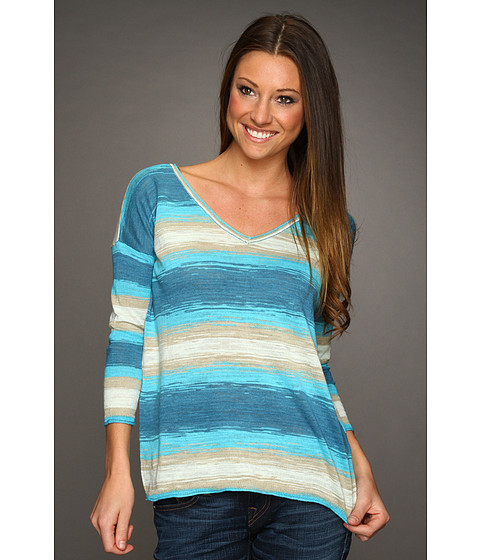 Bluze Lucky Brand - Stacey V-Neck Space Dye - Blue Multi