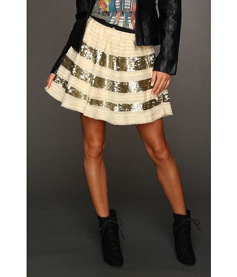 Fuste Free People - Sparkle and Stripe Skirt - Champagne Combo