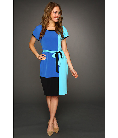 Rochii Calvin Klein - Color Block Self Belt Dress - Cobalt