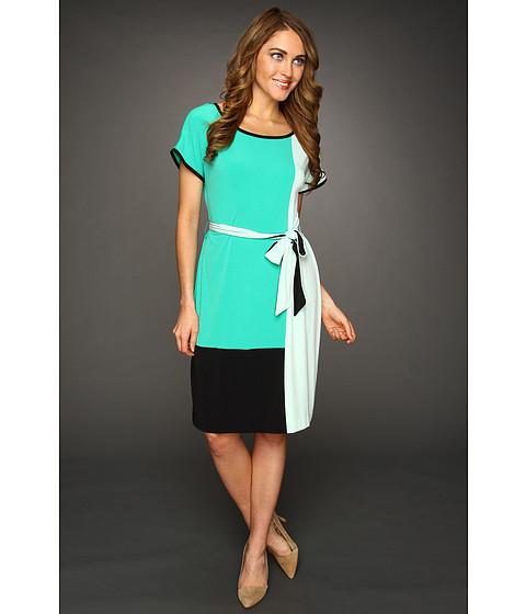 Rochii Calvin Klein - Color Block Self Belt Dress - Sea Green