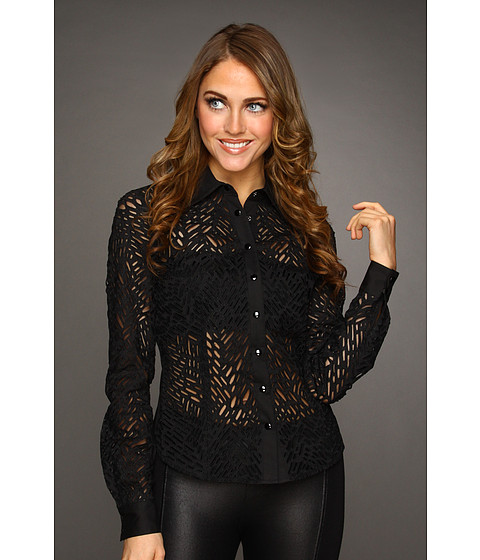 Camasi Catherine Malandrino - Fitted Cotton Button-Down Shirt with Cut Out Detail - Noir