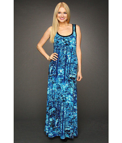 Rochii Calvin Klein - S/L Print Maxi Dress - Cobalt/White Multi