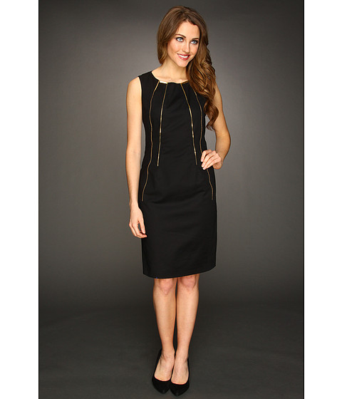 Rochii Calvin Klein - Shift Dress w/ Zippers - Black