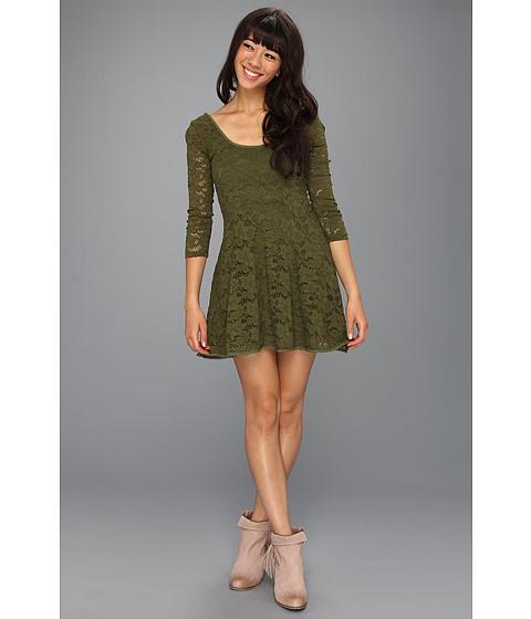 Rochii Free People - Three-Quarter Sleeve Lace Dress - Army Green