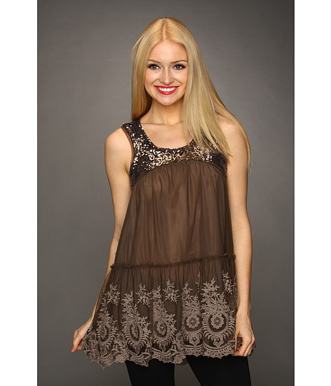 Tricouri Free People - Shimmer Sequin Mesh Tunic - Dark Taupe
