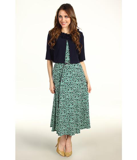 Rochii Jessica Howard - 3/4 Sleeve Ruffle Neck Jacket w/ Flared Dress - Navy/Green