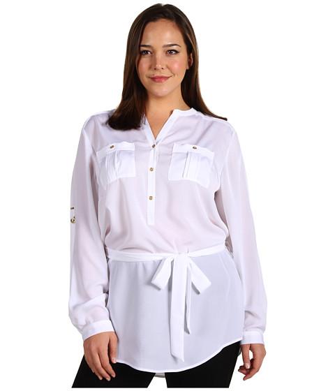 Tricouri Calvin Klein - Plus Size Henley Tunic w/ Self Belt - Soft White