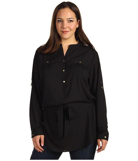 Tricouri Calvin Klein - Plus Size Henley Tunic w/ Self Belt - Black