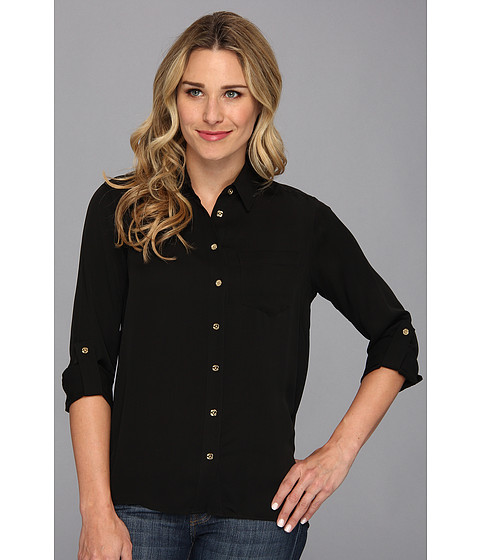 Camasi MICHAEL Michael Kors - Hi Low Button Down Shirt - Black 1