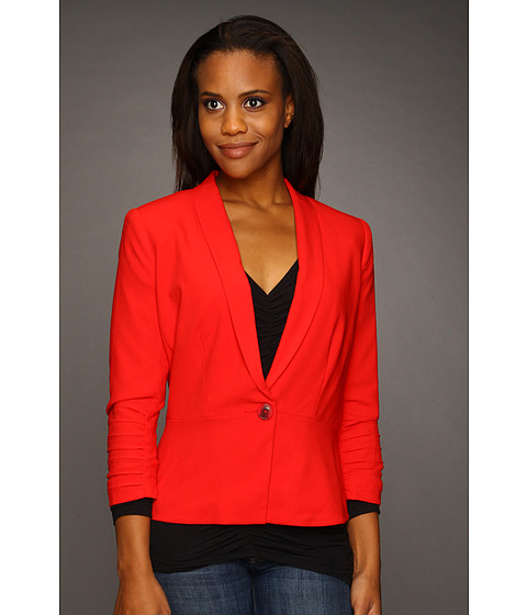 Sacouri DKNY - Shawl Collar Blazer w/ Ruched Three-Quarter Sleeve - Lacq