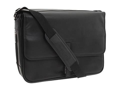 "Genti de voiaj Kenneth Cole Reaction - \""What A Bag!\"" - 4 1/2\"" to 6\"" Single Gusset Expandable Computer Messenger Bag - Black Nappa Leather"