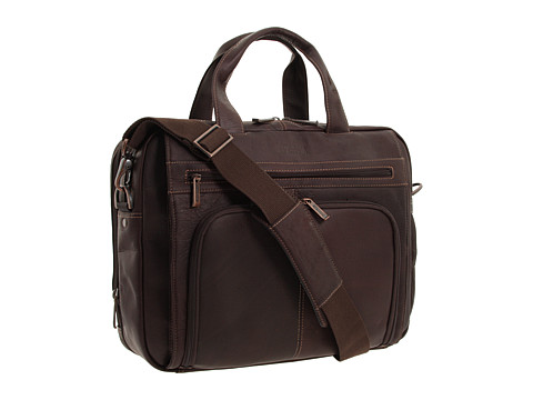 """Genti de voiaj Kenneth Cole Reaction - \""""Out of the Bag\"""" - 5 to 6 1/2\"""" Double Gusset Expandable Top Zip Portfolio Computer Case - Dark Brown Full-Grain Leather"""