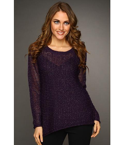 Bluze DKNY - Asymmetric Hem Mesh Stitch Pullover - Mulberry