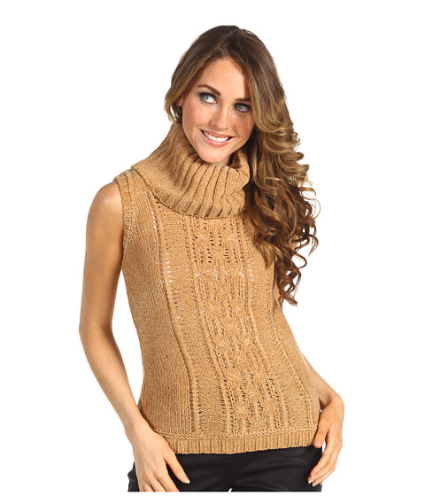 Pulovere Anne Klein New York - Petite Sleeveless Cowl Neck Cable Pullover - Brown Sugar
