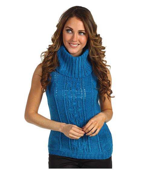 Pulovere Anne Klein New York - Petite Sleeveless Cowl Neck Cable Pullover - Peacock Blue