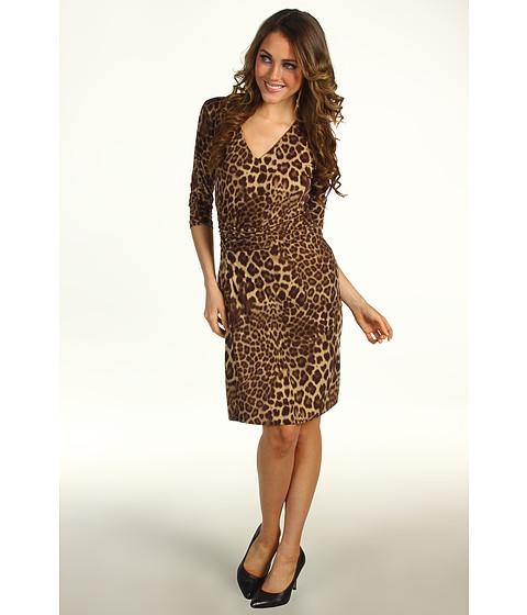 Rochii Anne Klein New York - Petite Leopard Print V-Neck Dress - Bark Multi