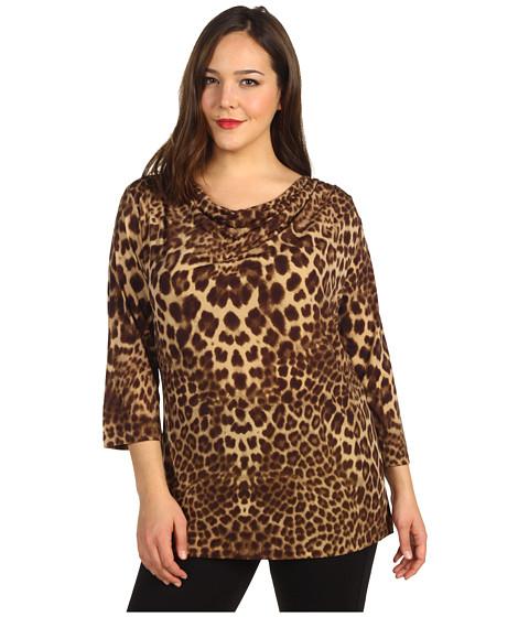 Tricouri Anne Klein - Plus Size Leopard Print Drape Neck Top - Bark Multi