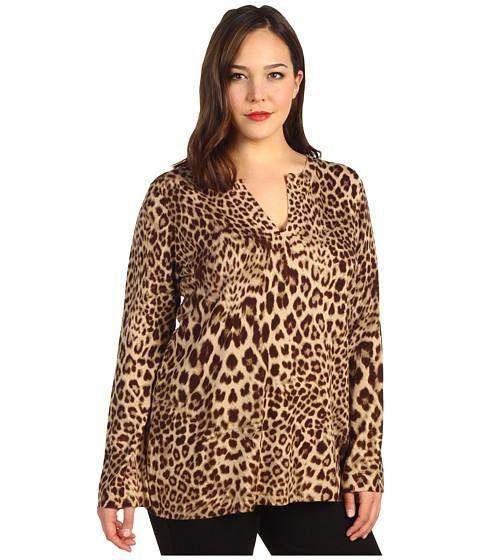 Bluze Anne Klein - Plus Size Leopard Print Pullover - Bark Multi