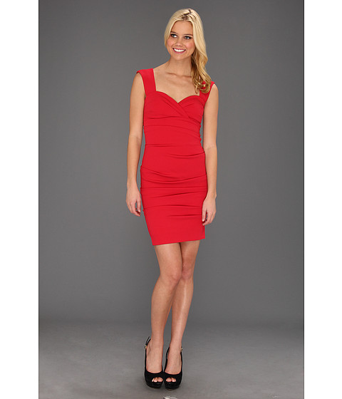 Rochii Nicole Miller - Satin Crepe Tucked Dress - Cherry