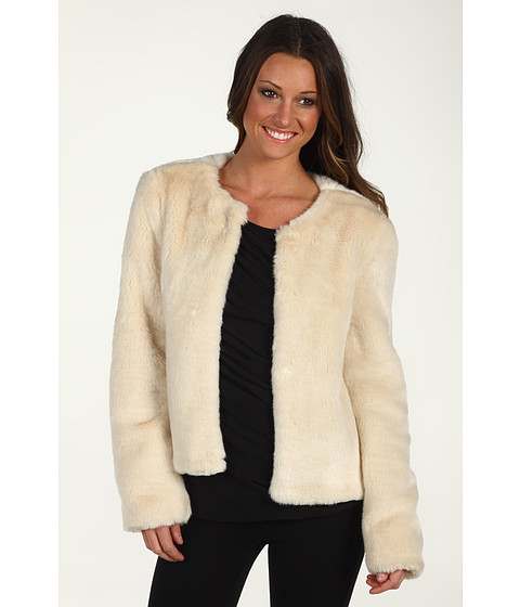 Sacouri DKNY - L/S Faux Fur Jacket - Cream